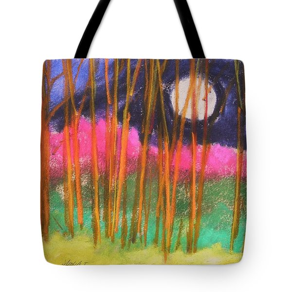 Tote Bag featuring the painting Magenta Treeline by John Williams