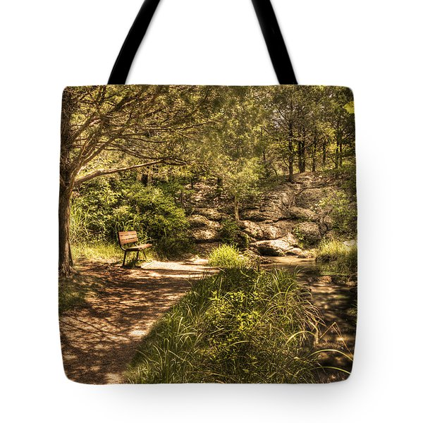 Tote Bag featuring the photograph Magic Bench by Tamyra Ayles
