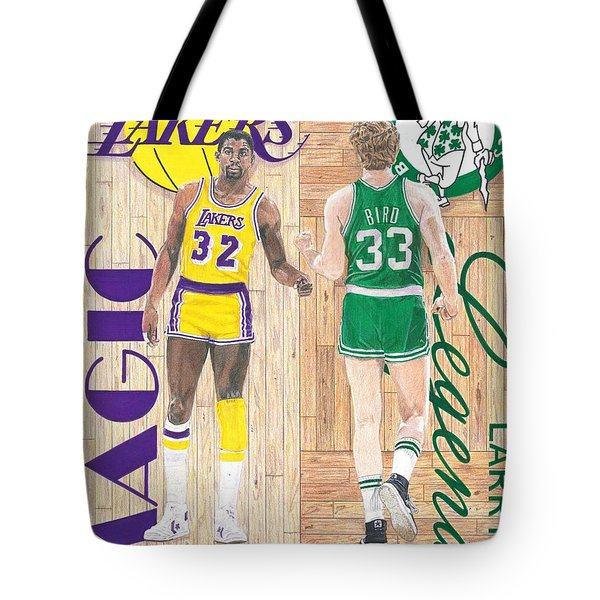 Magic Johnson And Larry Bird Tote Bag by Chris Brown