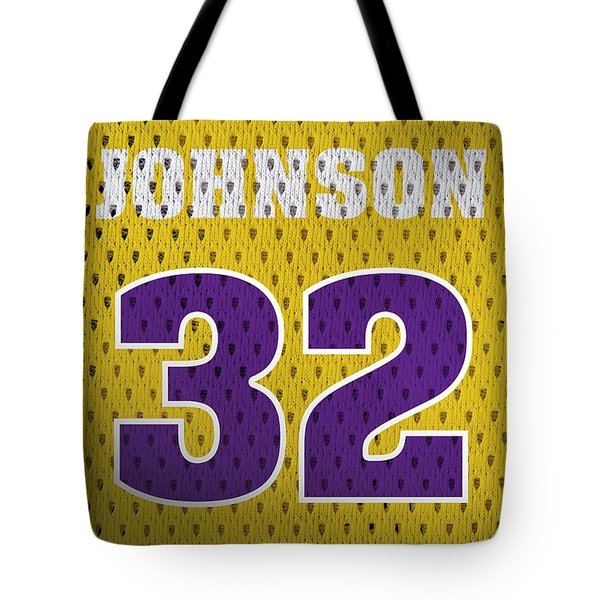 Magic Johnson Los Angeles Lakers Number 32 Retro Vintage Jersey Closeup Graphic Design Tote Bag by Design Turnpike