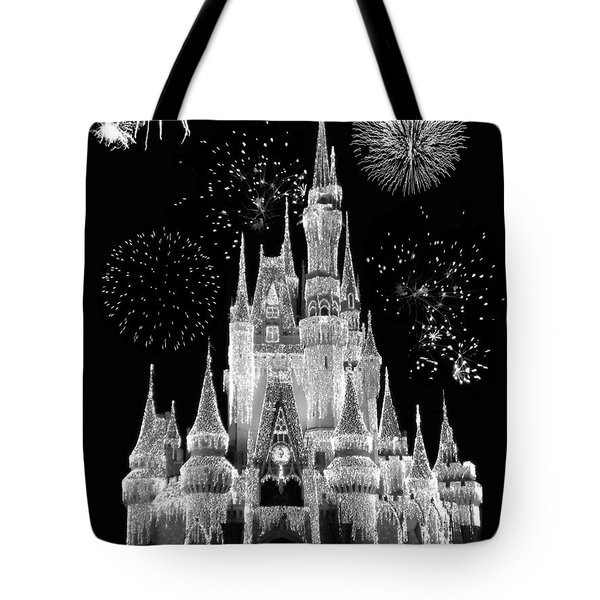 Magic Kingdom Castle In Black And White With Fireworks Walt Disney World Mp Tote Bag by Thomas Woolworth