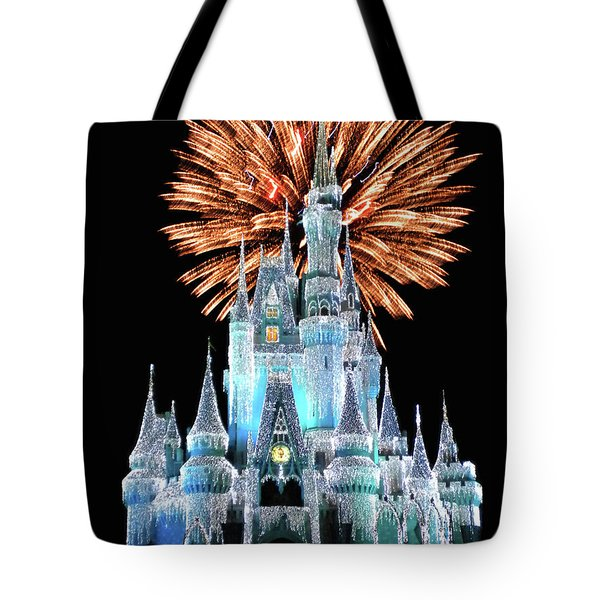 Magic Kingdom Castle In Frosty Light Blue With Fireworks 02 Mp Tote Bag