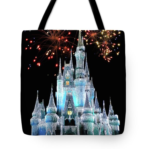 Magic Kingdom Castle In Frosty Light Blue With Fireworks 03 Mp Tote Bag