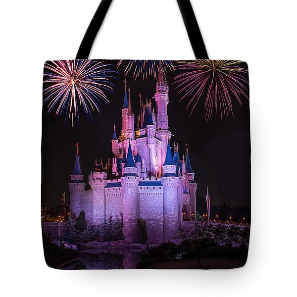 Magic Kingdom Castle Under Fireworks Tote Bag