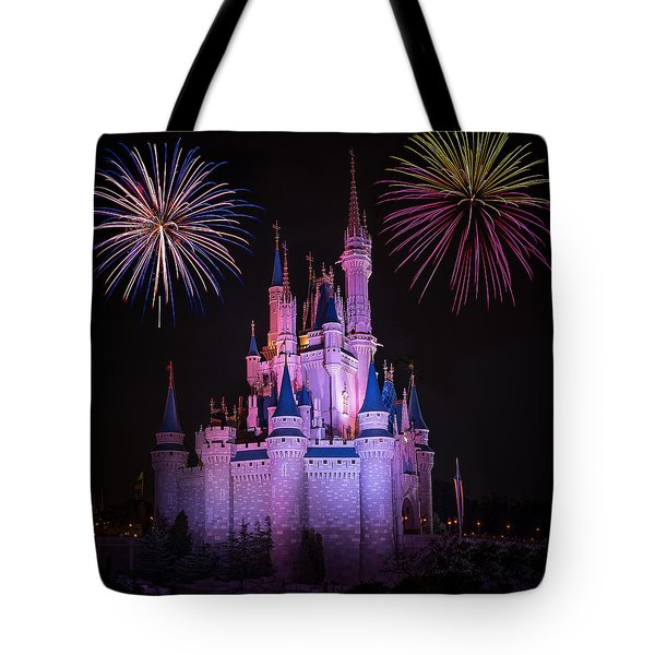 Magic Kingdom Castle Under Fireworks Square Tote Bag