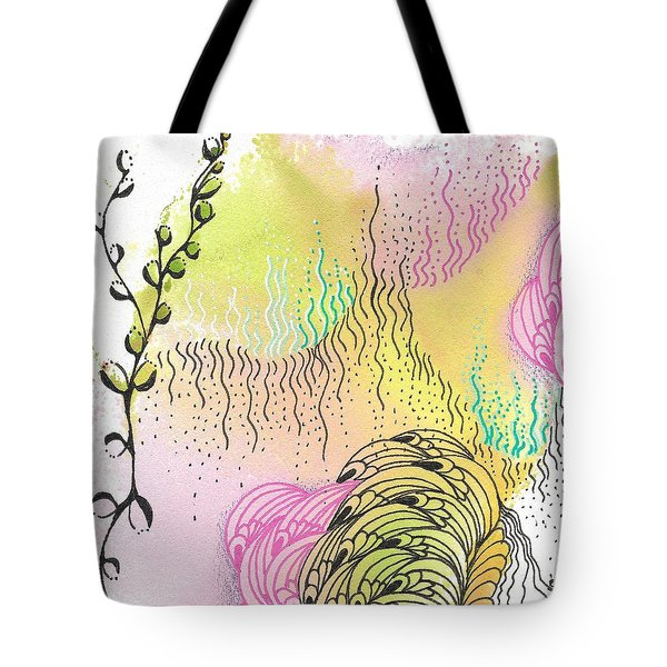 Tote Bag featuring the drawing Magic Mist by Jan Steinle
