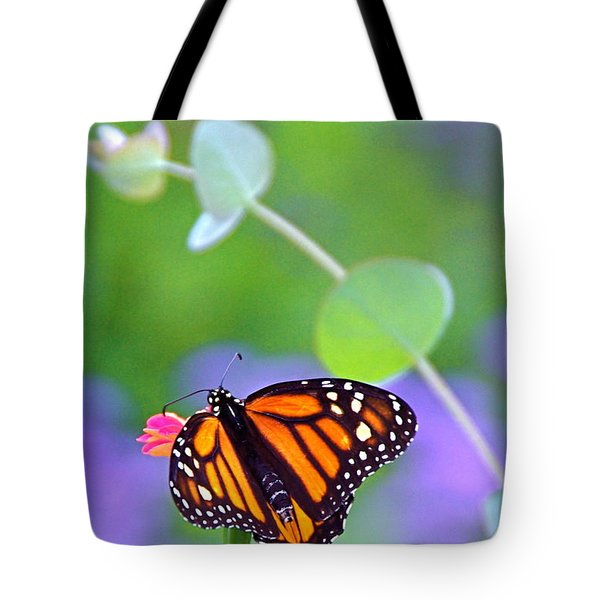 Tote Bag featuring the photograph Magical Monarch by Byron Varvarigos