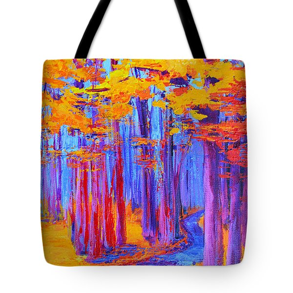 Tote Bag featuring the painting Magical Path - Enchanted Forest Collection - Modern Impressionist Landscape Art - Palette Knife Work by Patricia Awapara