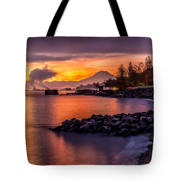 Magical Sunrise On Commencement Bay Tote Bag
