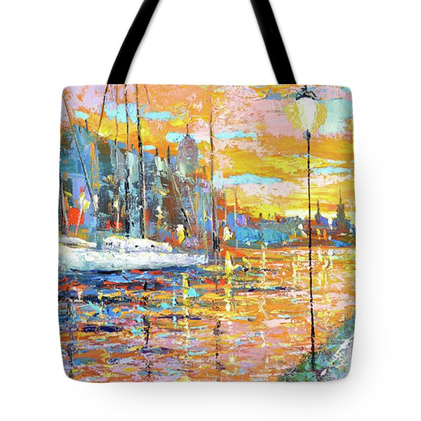 Tote Bag featuring the painting Magical Sunset by Dmitry Spiros