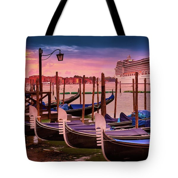 Gondolas And Cityscape At Sunset In Venice, Italy Tote Bag