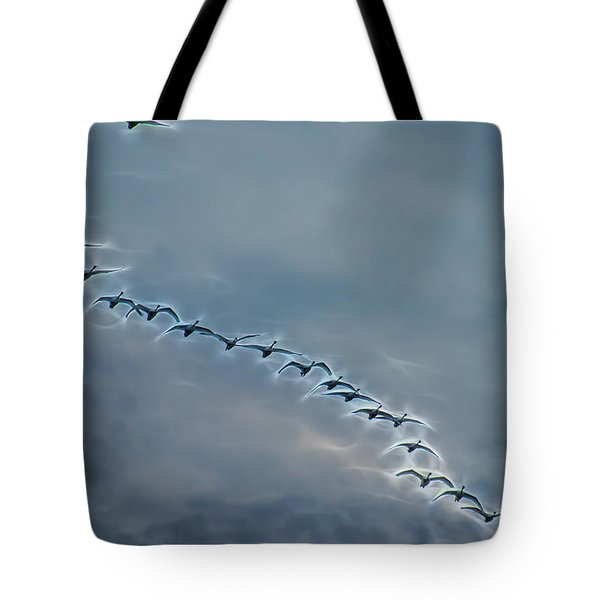 Magical Tundra Swan Fly-over Tote Bag