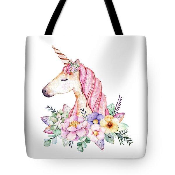 Magical Watercolor Unicorn Tote Bag