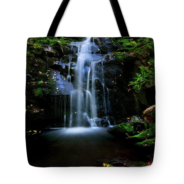 Magical Waterfall Above Spruce Falls In Tremont Smoky Mountains Tennessee  Tote Bag