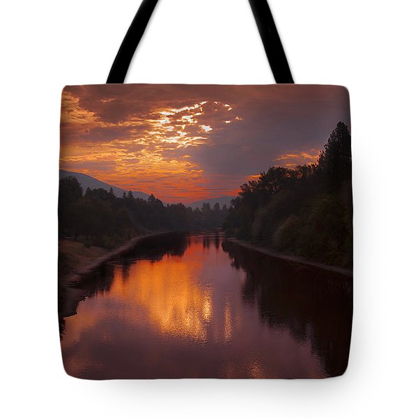 Magnificent Clouds Over Rogue River Oregon At Sunset  Tote Bag by Jerry Cowart