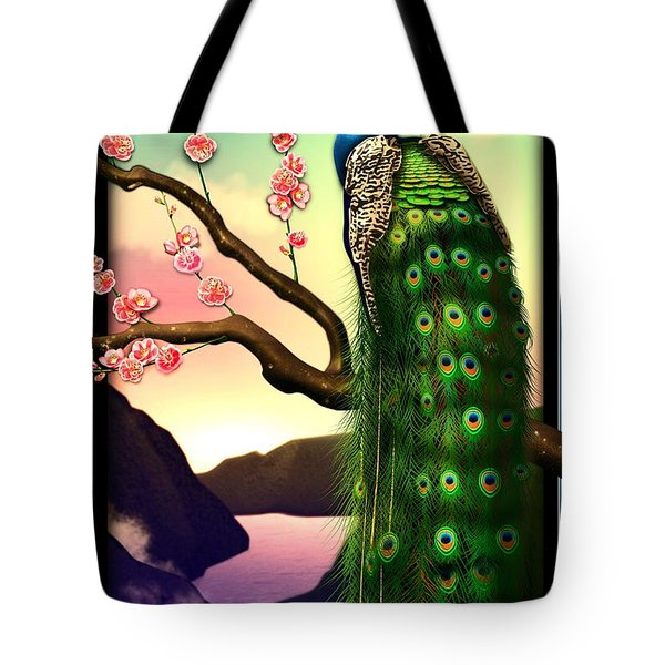 Magnificent Peacock On Plum Tree In Blossom Tote Bag