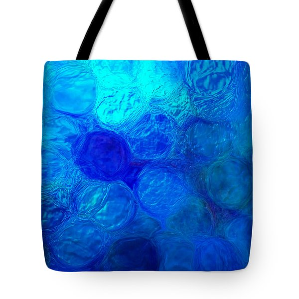 Magnified Blue Water Drops-abstract Tote Bag