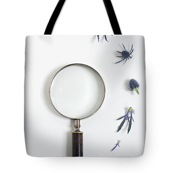 Magnifying Glass And Blue Thistle Tote Bag