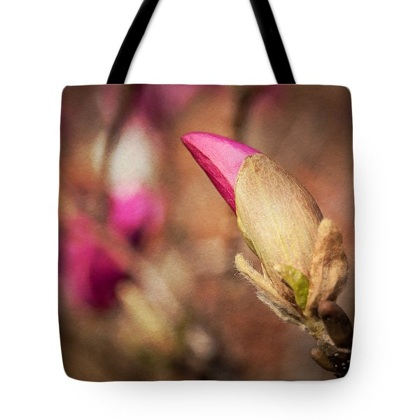 Tote Bag featuring the photograph Magnolia Bud Artified by David Coblitz
