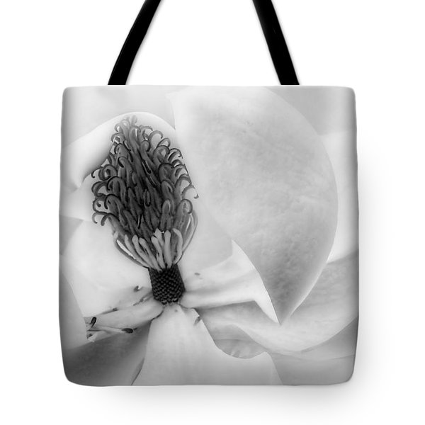Tote Bag featuring the photograph Magnolia Center Black And White Photography by Ann Powell