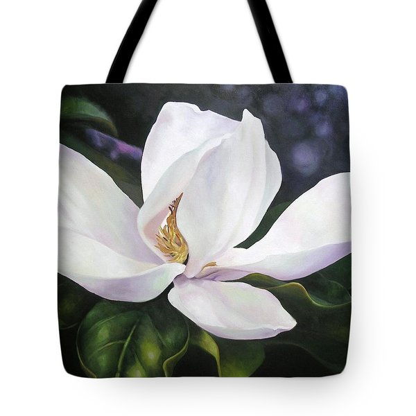 Tote Bag featuring the painting Magnolia Flower by Chris Hobel