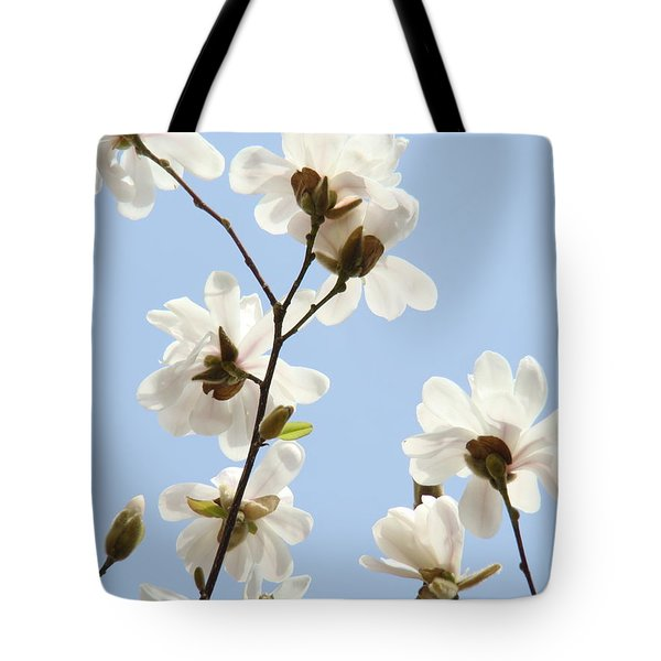 Magnolia Flowers White Magnolia Tree Flowers Art Spring Baslee Troutman Tote Bag by Baslee Troutman