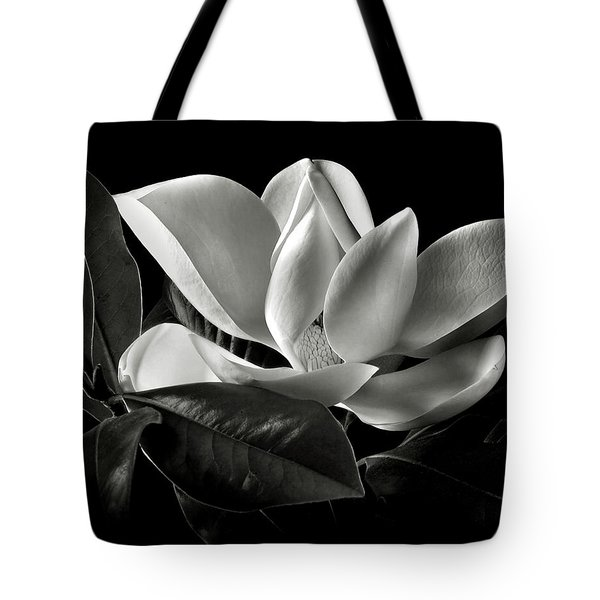 Magnolia In Black And White Tote Bag
