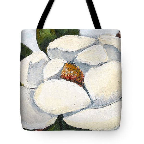 Magnolia On Blue Tote Bag by Elaine Hodges