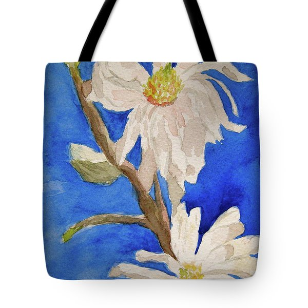 Magnolia Stellata Blue Skies Tote Bag by Beverley Harper Tinsley