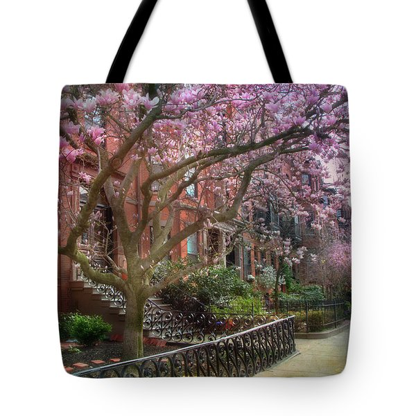 Tote Bag featuring the photograph Magnolia Trees In Spring - Back Bay Boston by Joann Vitali