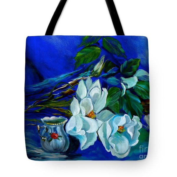 Magnolias And Cream Tote Bag by Jenny Lee