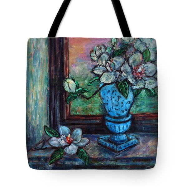Magnolias In A Blue Vase By The Window Tote Bag