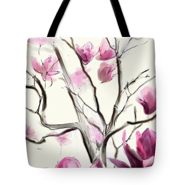 Tote Bag featuring the digital art Magnolias In Bloom by Gina Harrison