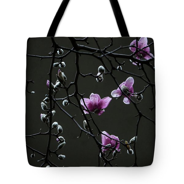 Tote Bag featuring the photograph Magnolias In Rain by Rob Amend