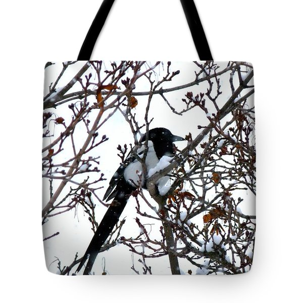 Tote Bag featuring the photograph Magpie In A Snowstorm by Will Borden