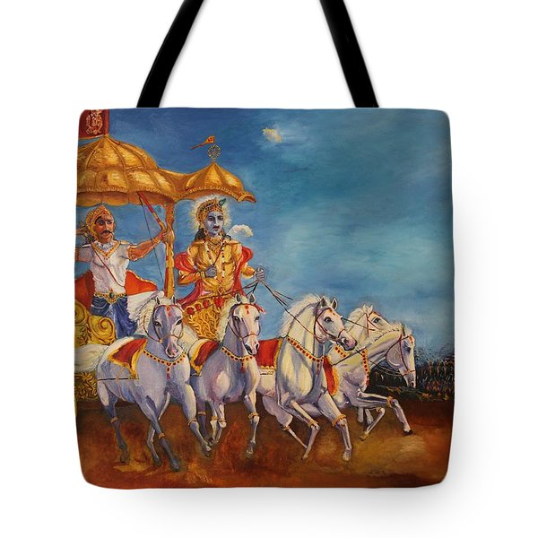 Tote Bag featuring the painting Mahabharat by Geeta Biswas
