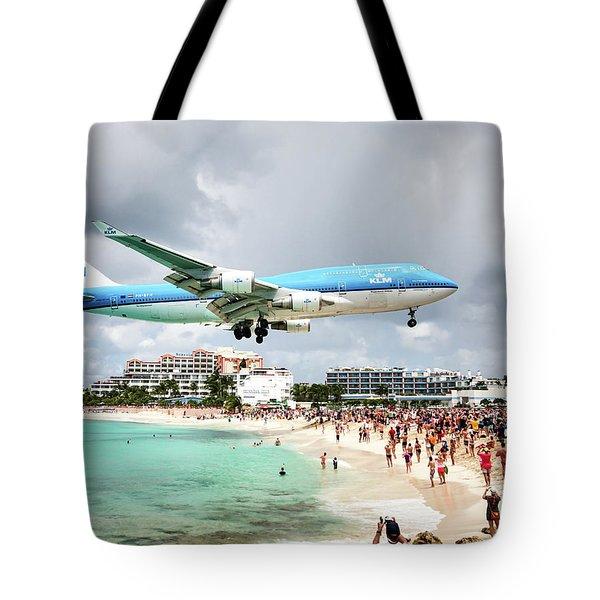 Maho Beach Caribbean Island Of St Maarten Tote Bag