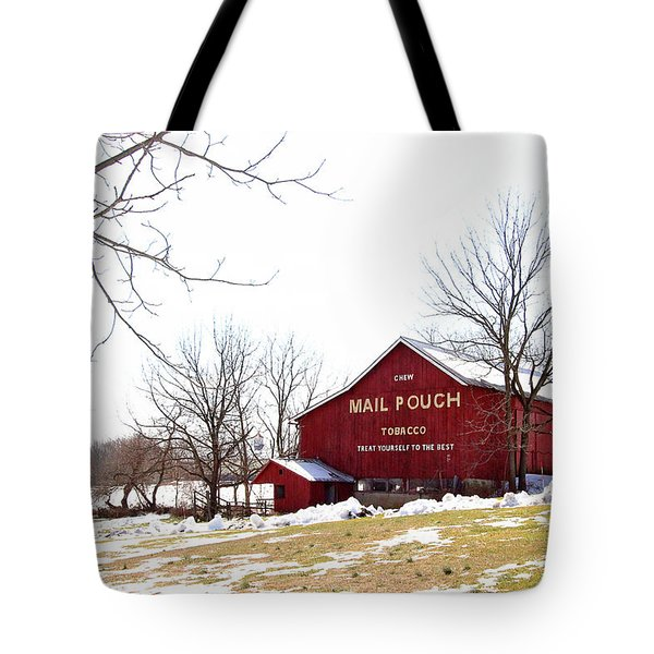 Tote Bag featuring the photograph Mail Pouch Tobacco Barn by Trina Ansel