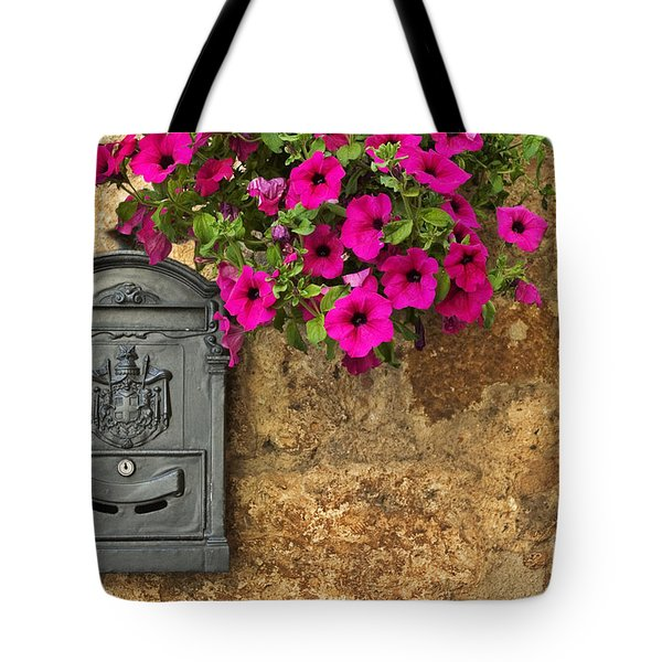 Mailbox With Petunias Tote Bag by Silvia Ganora