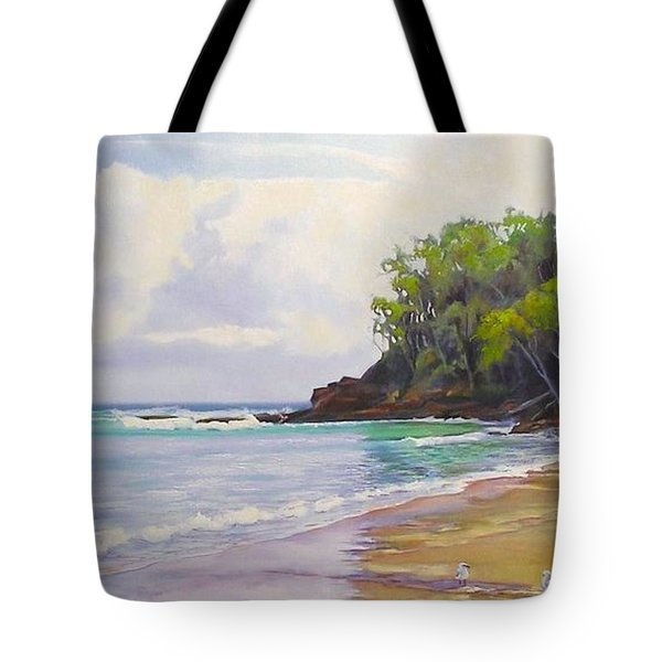 Tote Bag featuring the painting Main Beach Noosa Heads Queensland Australia by Chris Hobel