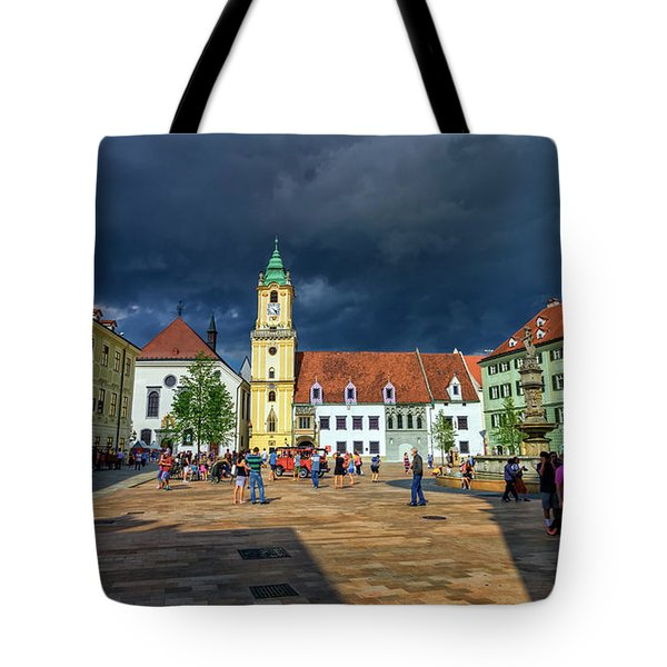 Main Square In The Old Town Of Bratislava, Slovakia Tote Bag