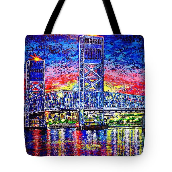 Tote Bag featuring the painting Main St. Bridge by Viktor Lazarev