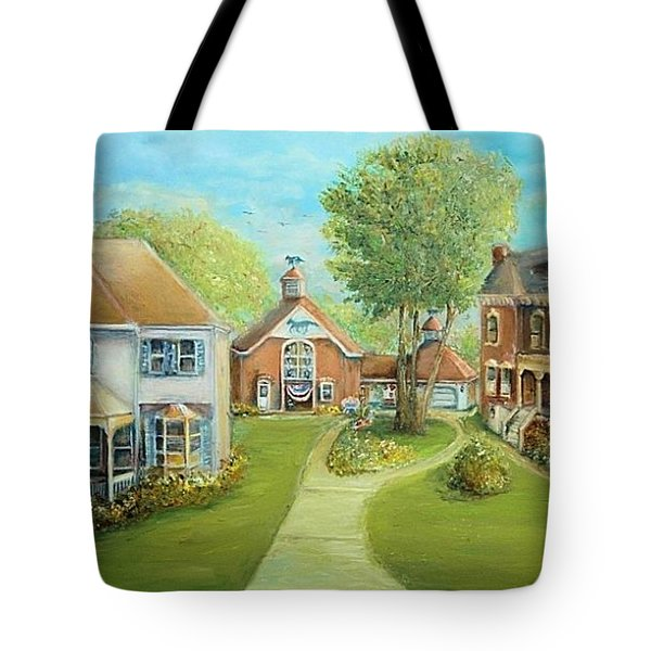 Tote Bag featuring the painting Main Street In The Summer  by Bernadette Krupa