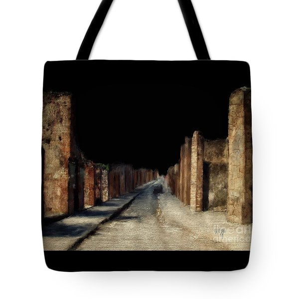 Tote Bag featuring the digital art Main Street, Pompeii by Lois Bryan