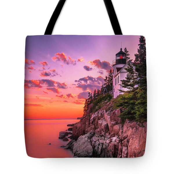 Tote Bag featuring the photograph Maine Bass Harbor Lighthouse Sunset by Ranjay Mitra