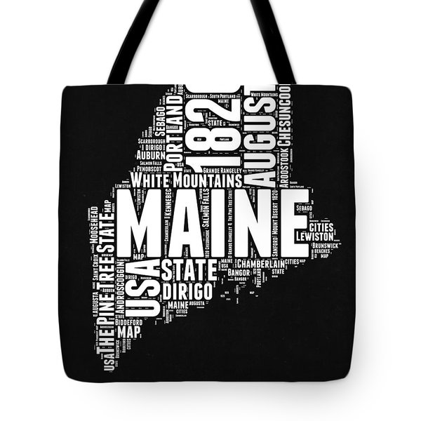 Maine Black And White Map Tote Bag