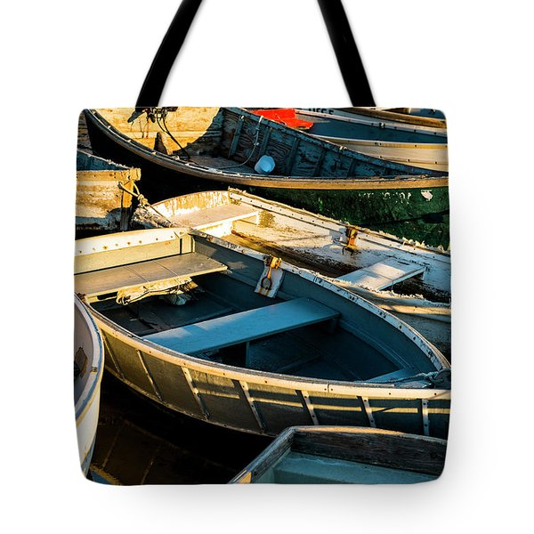 Maine Boats At Sunset Tote Bag