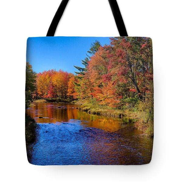 Maine Brook In Afternoon With Fall Color Reflection Tote Bag