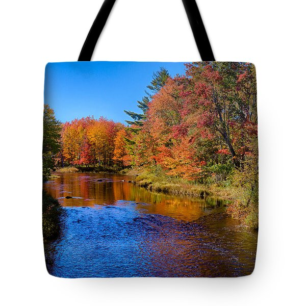 Tote Bag featuring the photograph Maine Brook In Afternoon With Fall Color Reflection by Jeff Folger