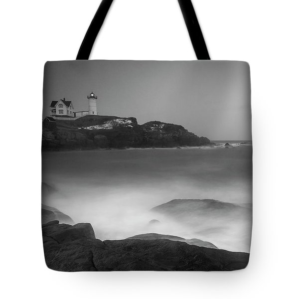 Tote Bag featuring the photograph Maine Cape Neddick Lighthouse And Rocky Coastal Waves Bw by Ranjay Mitra